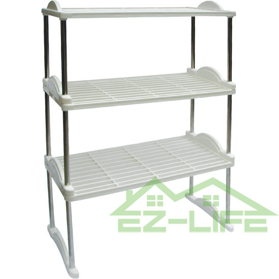 3 Tiers Multi Bookshelf Stainless Steel Shelving Storage Kitchen Rack Clear Plastic Shoe