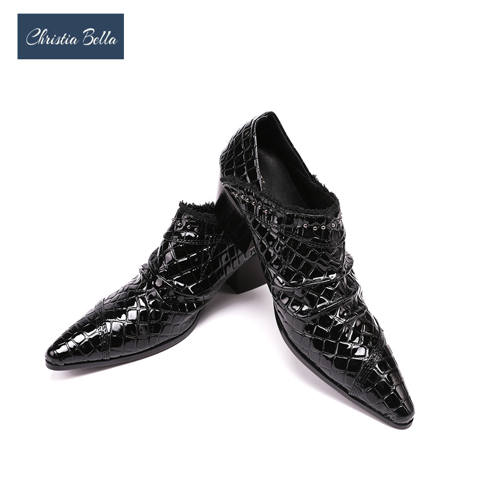 Christia Bella Men's Fashion Luxury Brand Designer Dress Shoes Black High Heels Wedding and Party Oxfords Plus Size 38-47