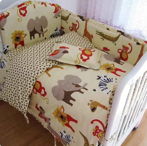 Promotion! 9PCS Full Set Baby Crib Bumper Set Baby Bedding Set Cotton Baby Set In Cot,4bumper/sheet/pillow/duvet цена