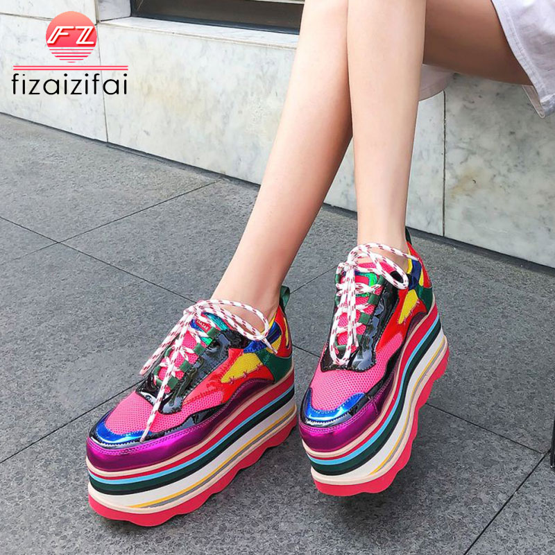 fizaizifai Women Sneakers Real Leather European 2019 Mixed Color Thick Bottom Platform Wedges Shoes Casual Footwear Size 35-40fizaizifai Women Sneakers Real Leather European 2019 Mixed Color Thick Bottom Platform Wedges Shoes Casual Footwear Size 35-40