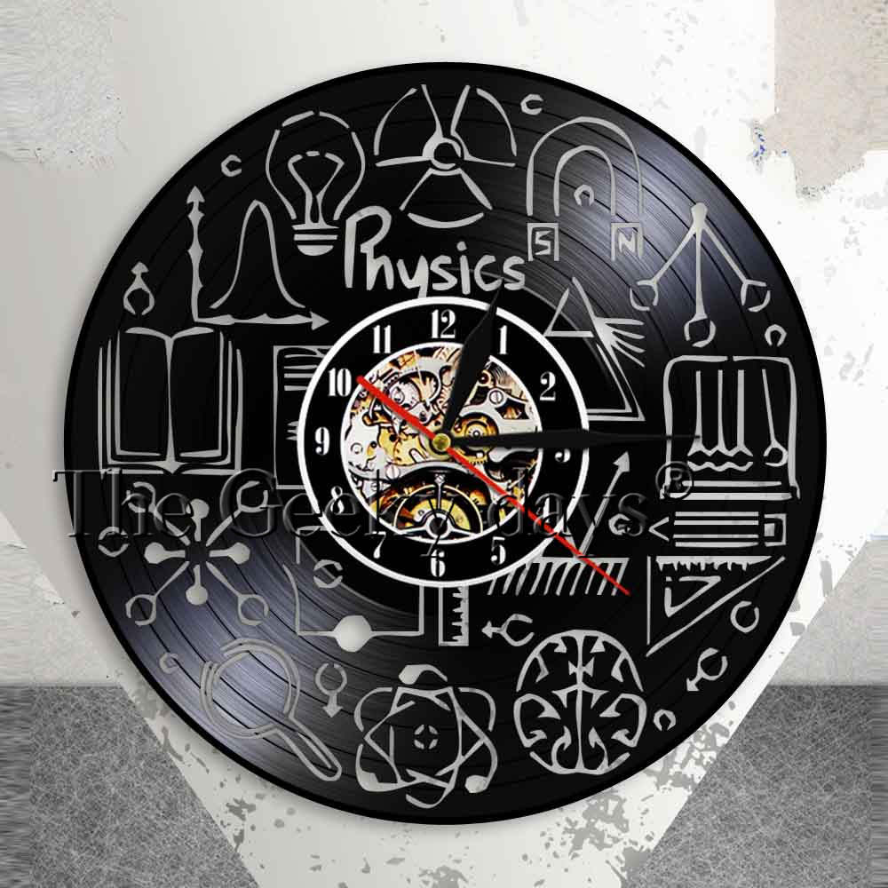 Physics Vinyl Record Wall Clock Study Theme Classroom Physics Experiment Wall Art Decorative Clock Gift For Physics Teachers