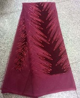 (5yards/pc) very beautiful embroidered African sequins velvet lace French net lace fabric in wine red for attractive party dress