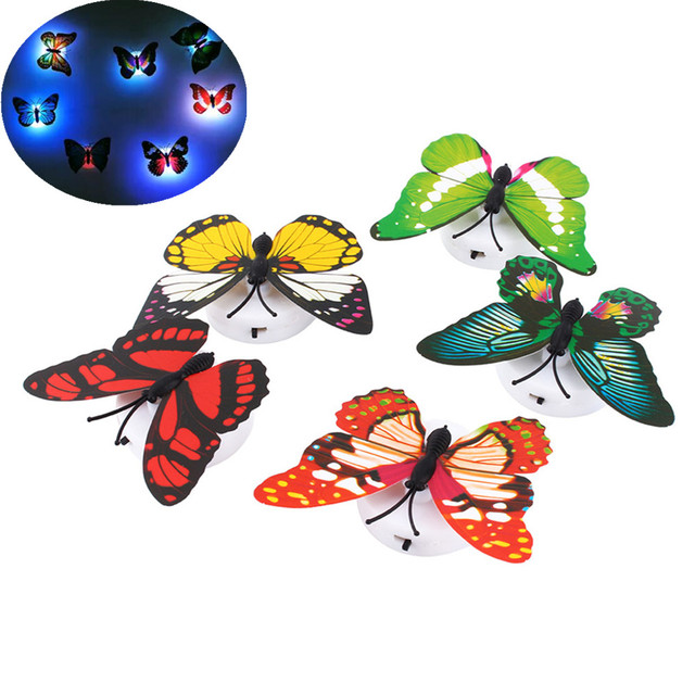 1pc Change Colors Home Decorative Wall Nightlights Butterfly Wall Xmas Decor LED Night Light Lamp Color Random