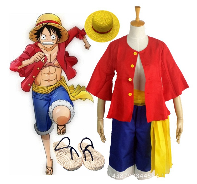 Anime One Piece Monkey D. Luffy Cosplay Monkey D. Rufy Cappello Scarpe Cosplay Serie Completa Acquisto Speciale