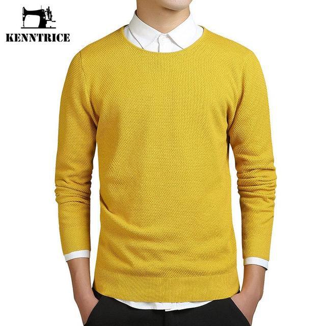 Kenntrice Yellow Sweater Jumper Men Coarse Wool Solid O Neck Euro ...