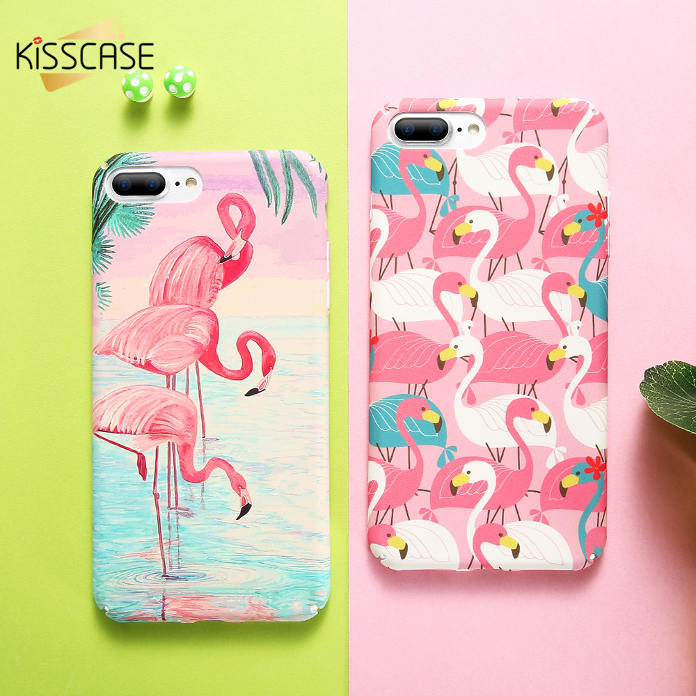 Galleria fotografica KISSCASE Cute Flamingo Cases For iPhone 5s 6 6s Case Smooth Touch Hard PC Cover Case For iPhone 6 6s 5 5s 7 8 iPhone X Fundas