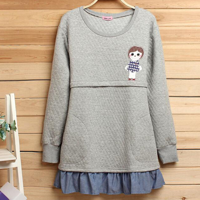 2016 Hoodies Thickened Top Casual Nursing Dresses Breast Feeding Clothing Maternity Clothes For Pregnant Women Maternity