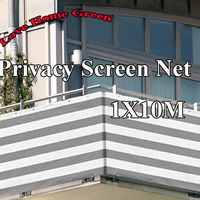 Gray/white striped privacy screen net awning fence for Deck Patio Balcony Porch 1X10m