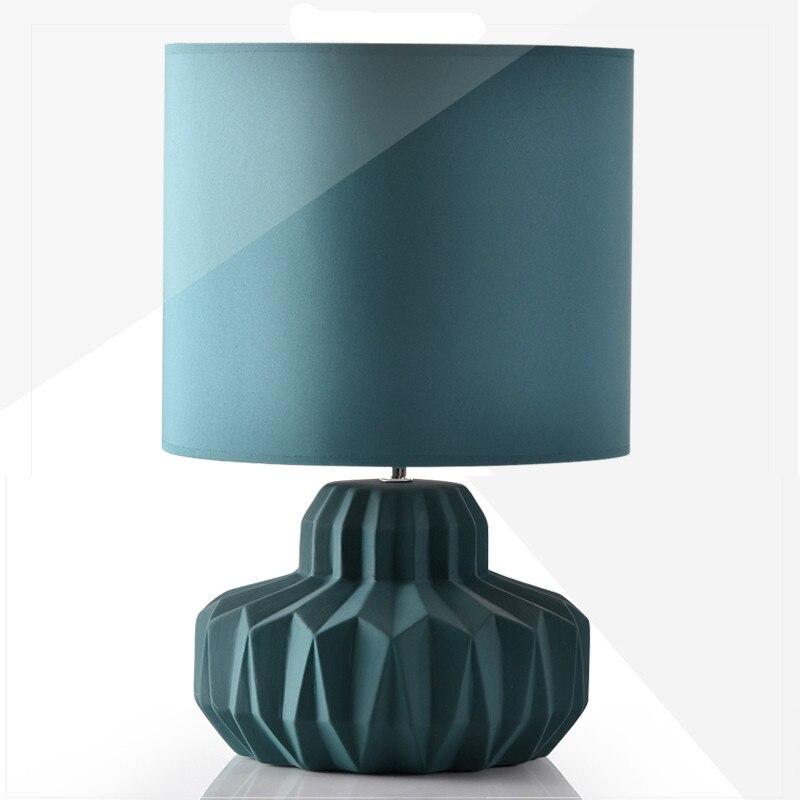 creative simple modern fashion nordi blue ceramic fabric led e14 table lamp for living room. Black Bedroom Furniture Sets. Home Design Ideas