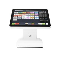 White 15 inch 5 wire TFT LCD Retail POS Point Of Sale All In One Flat panel touch screen