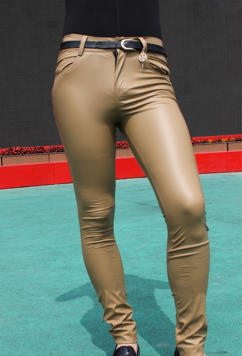 Sexy Men Faux Leather Matte Pencil Pants Skinny Pants Casual Leggings Slim Fit Tight Zipper Erotic Lingerie Club Wear FX1112