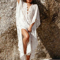 2017 Beach Maxi Dress Long Kaftan Beach Sarongs Sexy Lace Bikini Swimwear Tunic Swimsuit Bathing Suit Cover Ups Pareo