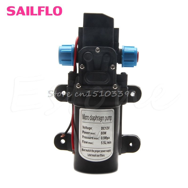 5.5L/Min DC12V 80W 0142 Motor High Pressure Diaphragm Water Self Priming Pump Drop Ship