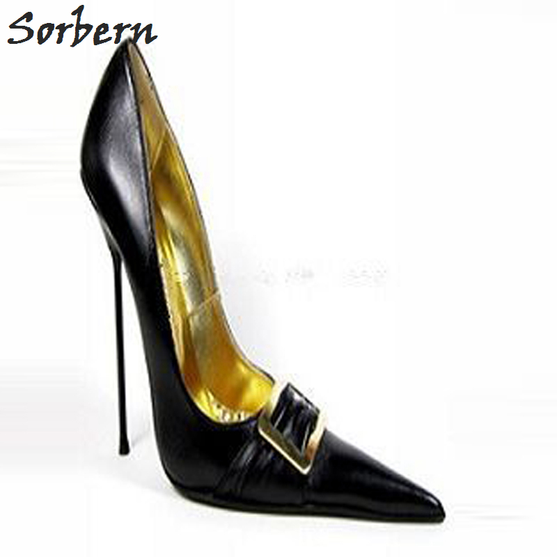 Sorbern 33-52 Slip On Pointed Toe Pump High Heels Unisex Shoes Metal Stilettos Heels Party Shoes For Women Sexy Runway Shoes newest flock blade heels shoes 2018 pointed toe slip on women platform pumps sexy metal heels wedding party dress shoes