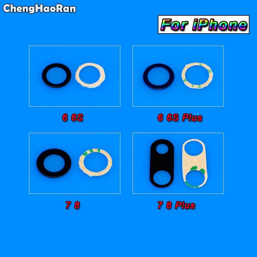 ChengHaoRan 10pcs Rear Back Camera Glass Lens with <font><b>Sticker</b></font> For iPhone 6G 6P 6s 6SP 7G 7 7+ 8G 8+ 8 Plus Camera Lens adheisve image