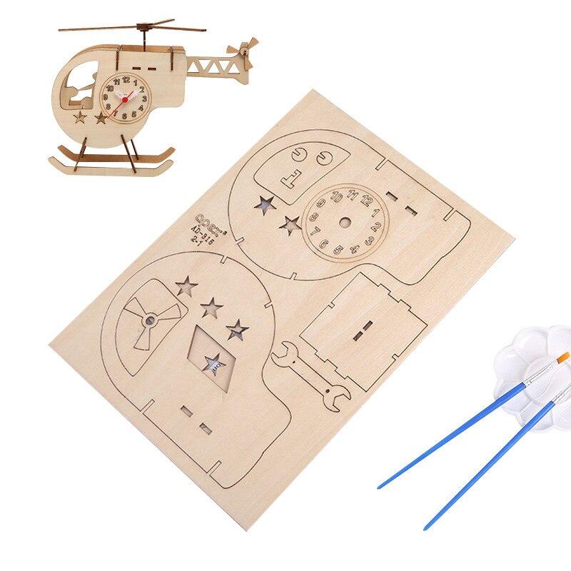The Wood DIY Table Clock Handmade Install Desktop Alarm Clock Household Desk Table Alarm Clock Childrens Educational Toys Clock