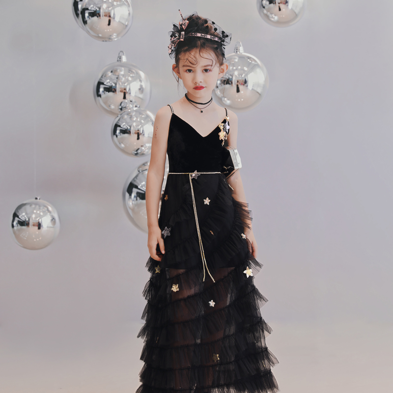Luxury Black Kids Formal Dress V-neck Suspender Dress Evening Gowns Sequined Stars Lace Flower Girl Dresses for Birthday Party