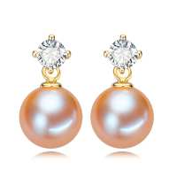 RUNZHUQIYUAN 2017 100% natural freshwater pearl drop earrings 925 sterling silver jewelry zircon for women gifts good quality