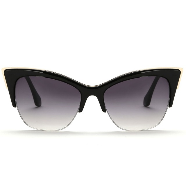 Half-Frame Cat Eye Sunglasses Women Summer Style Brand Designer