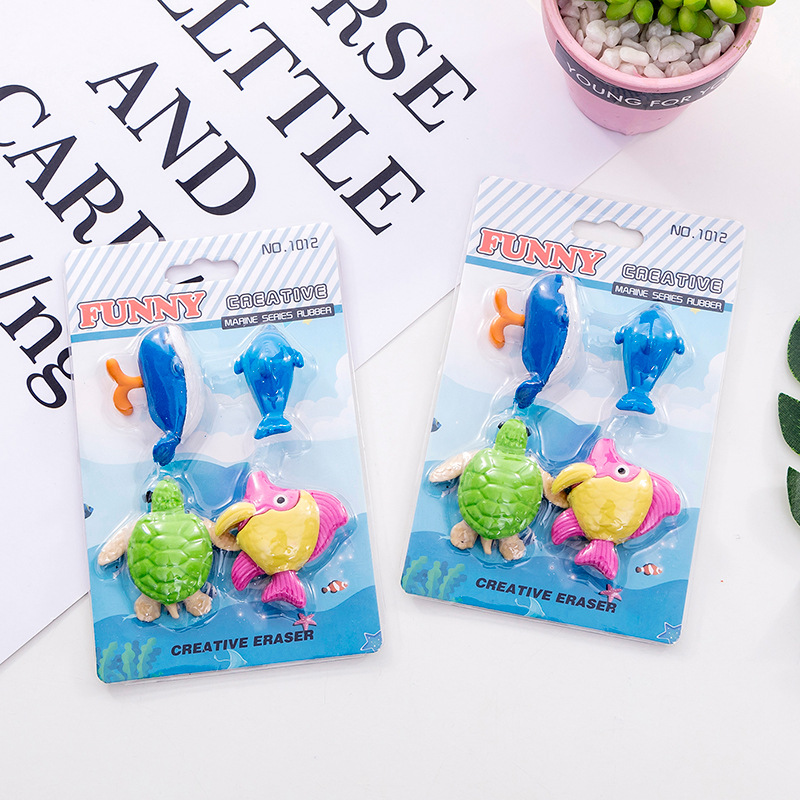 4Pcs/Set Rubber Fish Eraser Sea Animal Eraser Box School Stationery Office Supplies School Supplies Bts Stationery Gift Tool