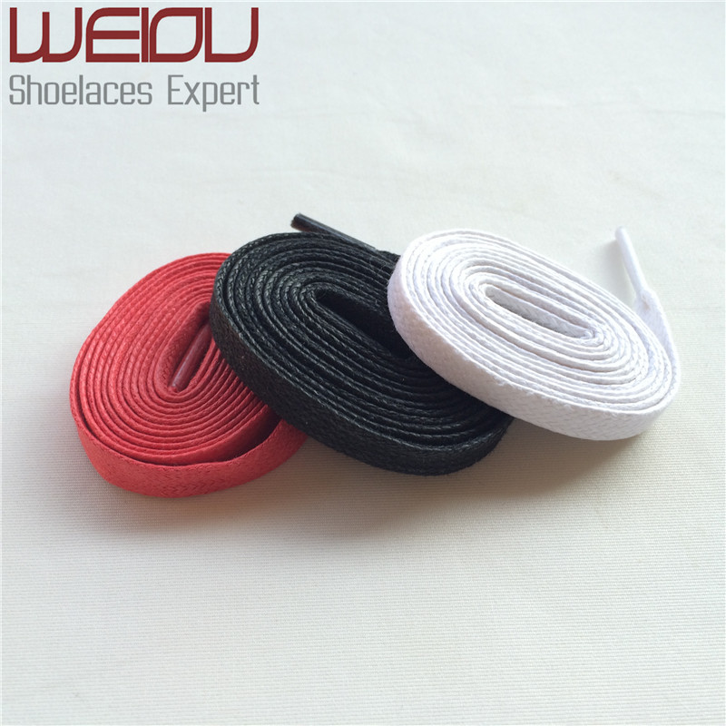 (50 pairs/Lot)Weiou colored waxed cotton dress shoelaces flat waterproof shoe laces waxed string shoelace for Leather shoes