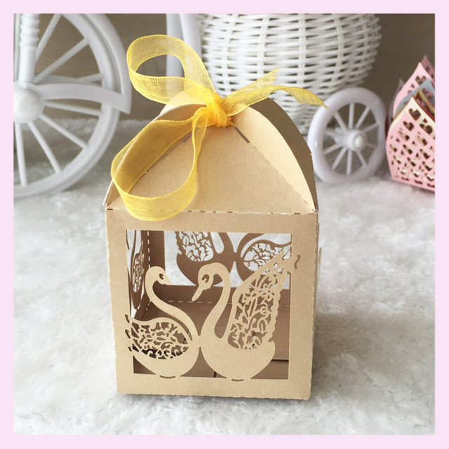 50pcslot personalized free printable laser cut decoration mariage couple swans wedding favor box candy - Aliexpress Decoration Mariage