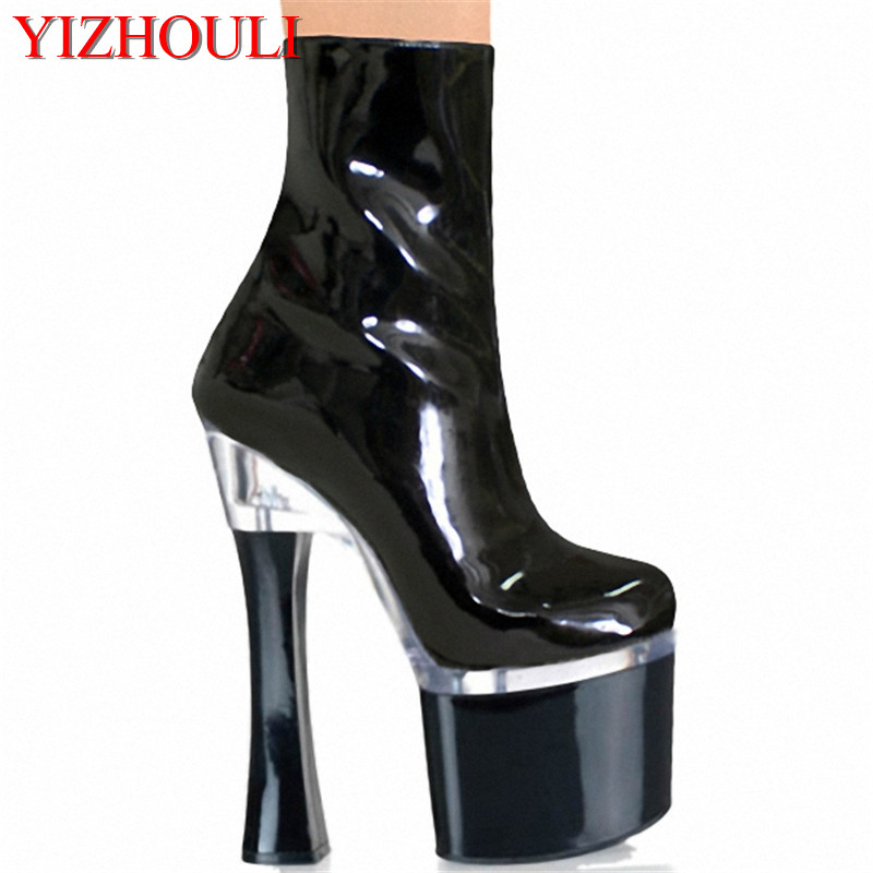 18cm New arrived Autumn and winter fashion PU leather thick high heel shoes sexy black platform pumps ankle boots ladies18cm New arrived Autumn and winter fashion PU leather thick high heel shoes sexy black platform pumps ankle boots ladies