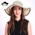 New 2017 Summer fancy bowknot cotton girls straw hats floppy  large brim hat