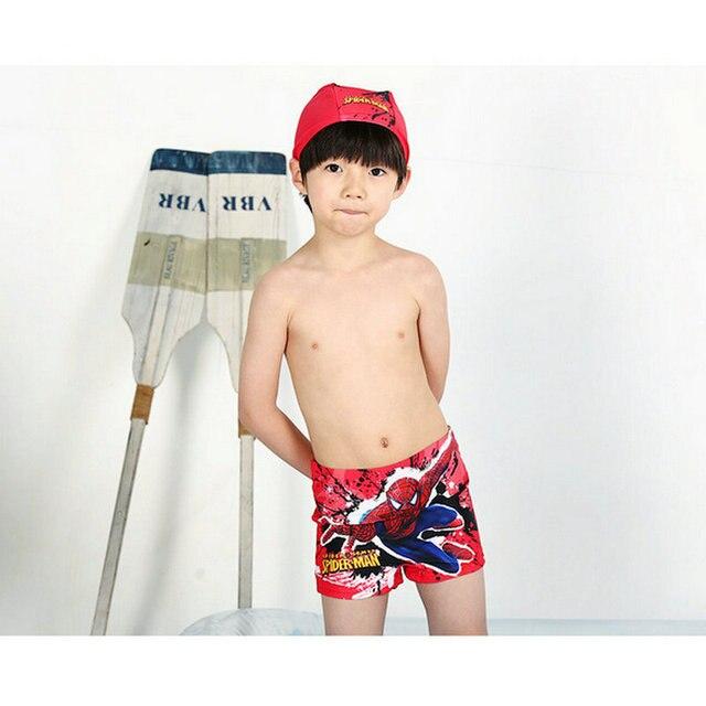 136f94bc7d Fashion Spider-Man Pattern Swimwear Cool Boys Rash Guards Swimming Trunks  With Cap Child Beachwear