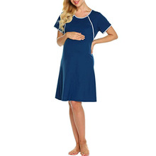 Cotton  Maternity  Nursing Dresses Cotton Blend Solid O-neck Summer Short Sleeve Baby Breastfeeding Sundress Pregnancy Dresses