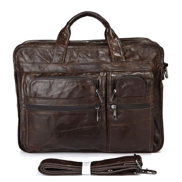 Vinatge Real Genuine Leather Men Messenger Bags Cow Leather Portfolios Cowhide Briefcase 15 6 Laptop Shoulder