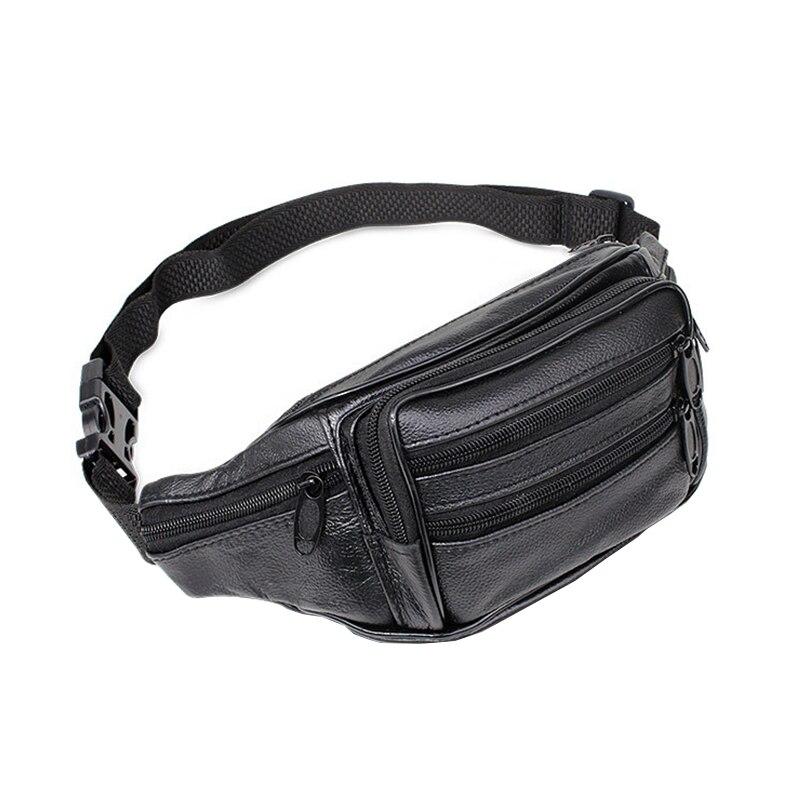 Fashion Casual Genuine Leather Waist Bag Men Waist Pack High Quality Waist Bag Pack Belt Chain Waist Bags For Phone Pouch Bolso