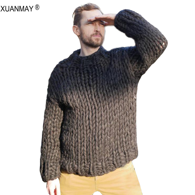 Spring Super Chunky Men's Sweater Loose Casual Navy Blue Pullover Sweater Coat Thick Warm Hand-knitted Men's Thick Sweater