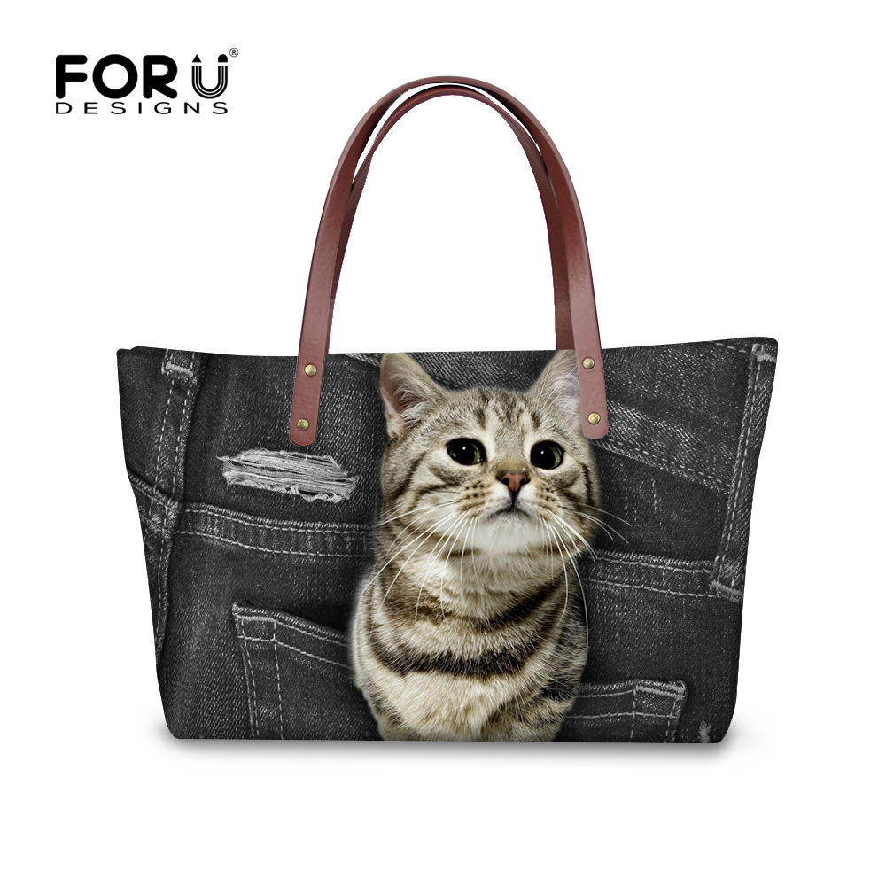 FORUDESIGNS Cowboy Animal Women Casual Messenger Bags Cute Cat Dog Prints Women's Large Beach Tote Bags Luxury Handbags for Lady forudesigns women handbags large capacity messenger bags cute emoji print ladies top handle bag casual student girls beach bag
