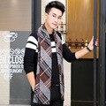 Diseñador caliente de la Bufanda de Algodón Hombres de la Marca de Lujo de Algodón Larga Bufanda de Invierno Hombre Cálido Bufanda Británico Hombres de la Marca de Lujo Envuelve