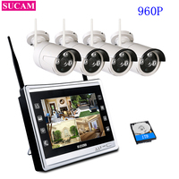 SUCAM 4CH 960P Wireless NVR Kit Wifi CCTV System 1.3MP Outdoor IP Camera Security Surveillance Set with 11 LCD Monitor Screen