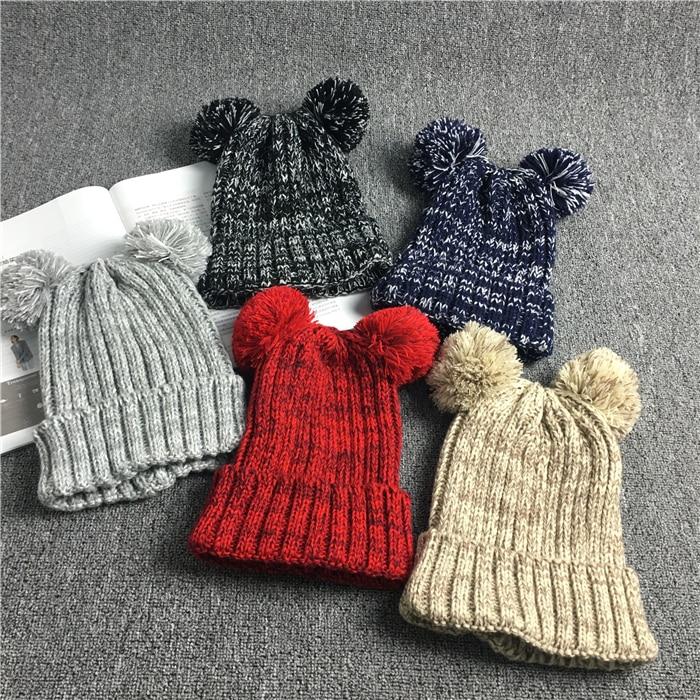 Genuine Real Fox Fur Pom Poms Winter Hats Cable Knitted Wool Kids Fur Pompom Hats Warm Children Pompon Beanies Boy Girl Ski Hats