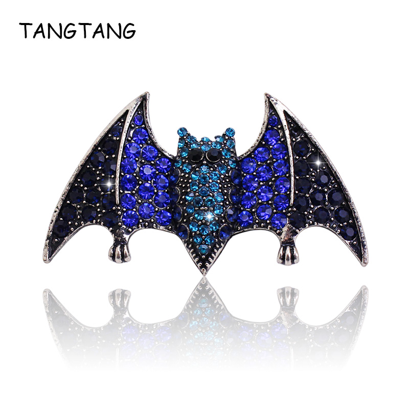 Personality Vintage Aerial Mammal Bat Brooch With Royal Blue Rhinestone Antique Silver Jewelry For Men Hijab Scarf Pin, BH8361 ...