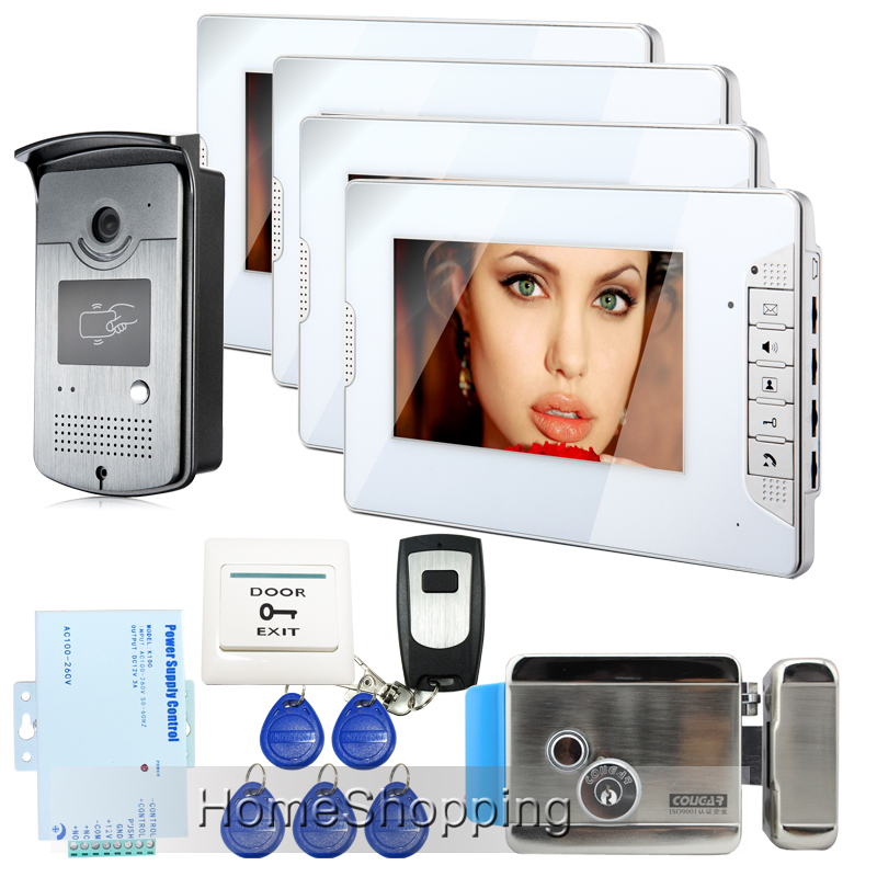 FREE SHIPPING 7 Video Intercom Home Door Phone System 4 White Monitor 1 HD Doorbell ID Reader Camera E-LOCK In Stock Wholesale free shipping 7 video intercom video door phone system with 1 monitor 1 rfid card reader hd doorbell camera in stock wholesale
