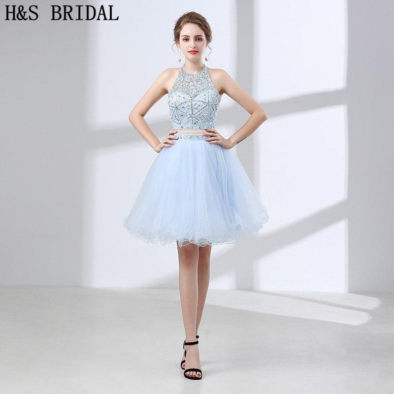 H&S BRIDAL Halter short   prom     dress   Tow Pieces trouwjurk Tulle Crystal Mini Short Evening   Dress   Backless short evening   dresses