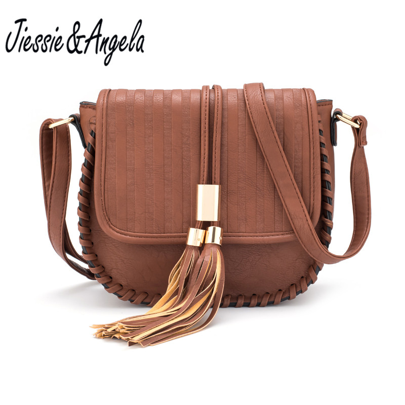 Jiessie&Angela Hot Sale Women Messenger Bag Leather Handbag Vintege 2017 New Design High Quality Women Bag Crossbody Shoulder yuanyu new 2017 hot new free shipping crocodile leather women handbag high end emale bag wipe the gold