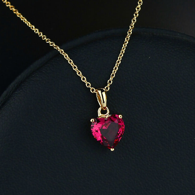 Top Quality Small Red Crystal Heart Necklace Rose Gold Color ...