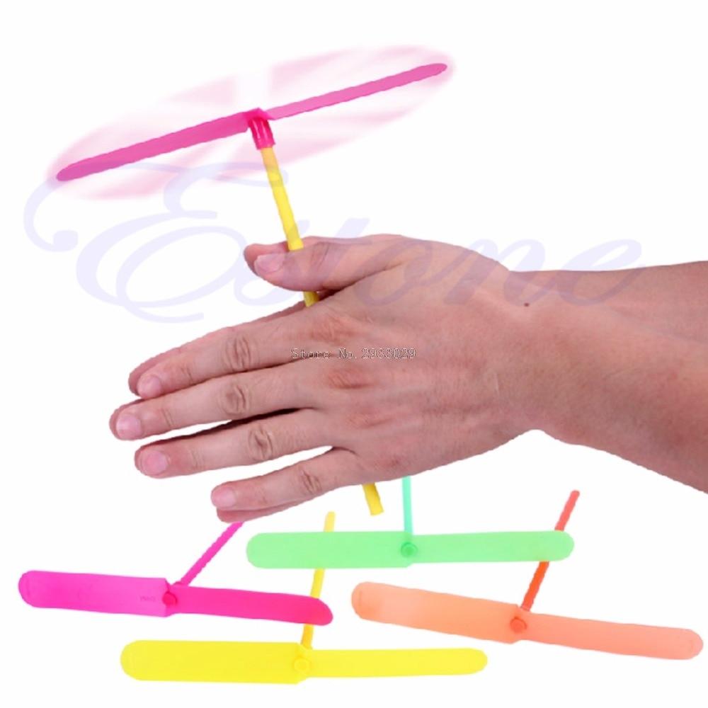 12pcs Plastic Bamboo Dragonfly Propeller Kids Children Gift Flying Outdoor Toy -B116