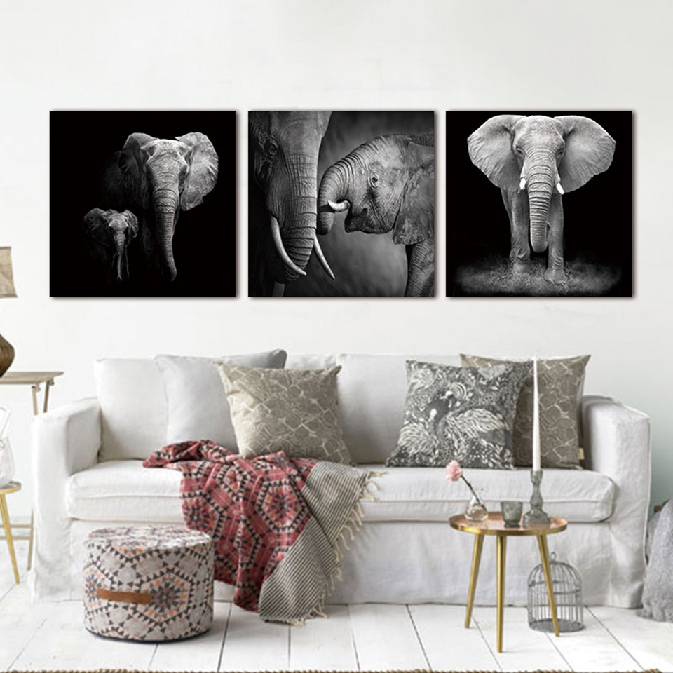 Home Decoration Painting On Canvas Cuadros Posters 3 Panel Elephant Living  Room Wall Art Pictures HD Printed Modern Frame  In Painting U0026 Calligraphy  From ...