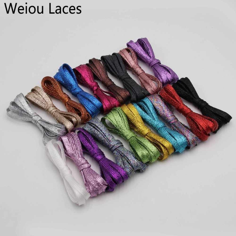 Weiou мерцающие с металлическими блестками плоские шнурки блестящие ботинки для парусиновых кроссовок ботинки для занятий атлетикой Бесплатная доставка