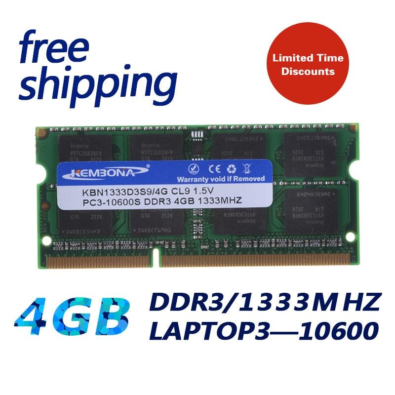 204pin KEMBONA Brand New Selado DDR3 1333/PC3 10600 4 gb Laptop RAM compatível com todos os motherboard 16 chips /frete Grátis!!!