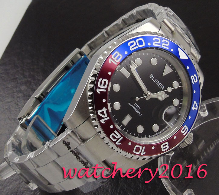 NEW 40mm Bliger black dial date luminous marks Stainless steel Sapphire glass GMT Automatic Movement Men