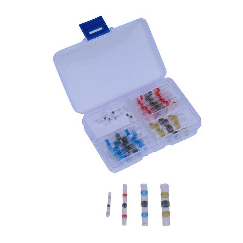 50pcs Insulated Terminators Waterproof Solder Weld Ring Heat Shrink Electrical Crimp Wire Cable Terminals Butt Connectors Kit 180pcs inserts humpback crimp splice terminals piggyback terminators 22 10awg kit heat shrink electrical wire connectors set