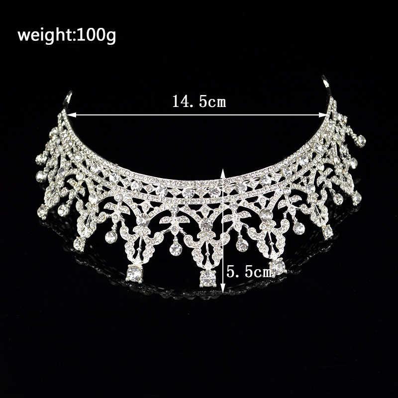 Luxe Vintage cristal strass reine argent Rose or couleur mariage couronne de mariée mariage diadème tête bijoux cheveux accessoires
