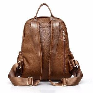 Image 4 - 2018 frauen Rucksack Hohe Qualität Rucksack PU Leder Mochila Escolar Vintage Taschen Rucksäcke Mode Daypack